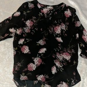 Maurice's semi sheer perfect blouse sz xl floral